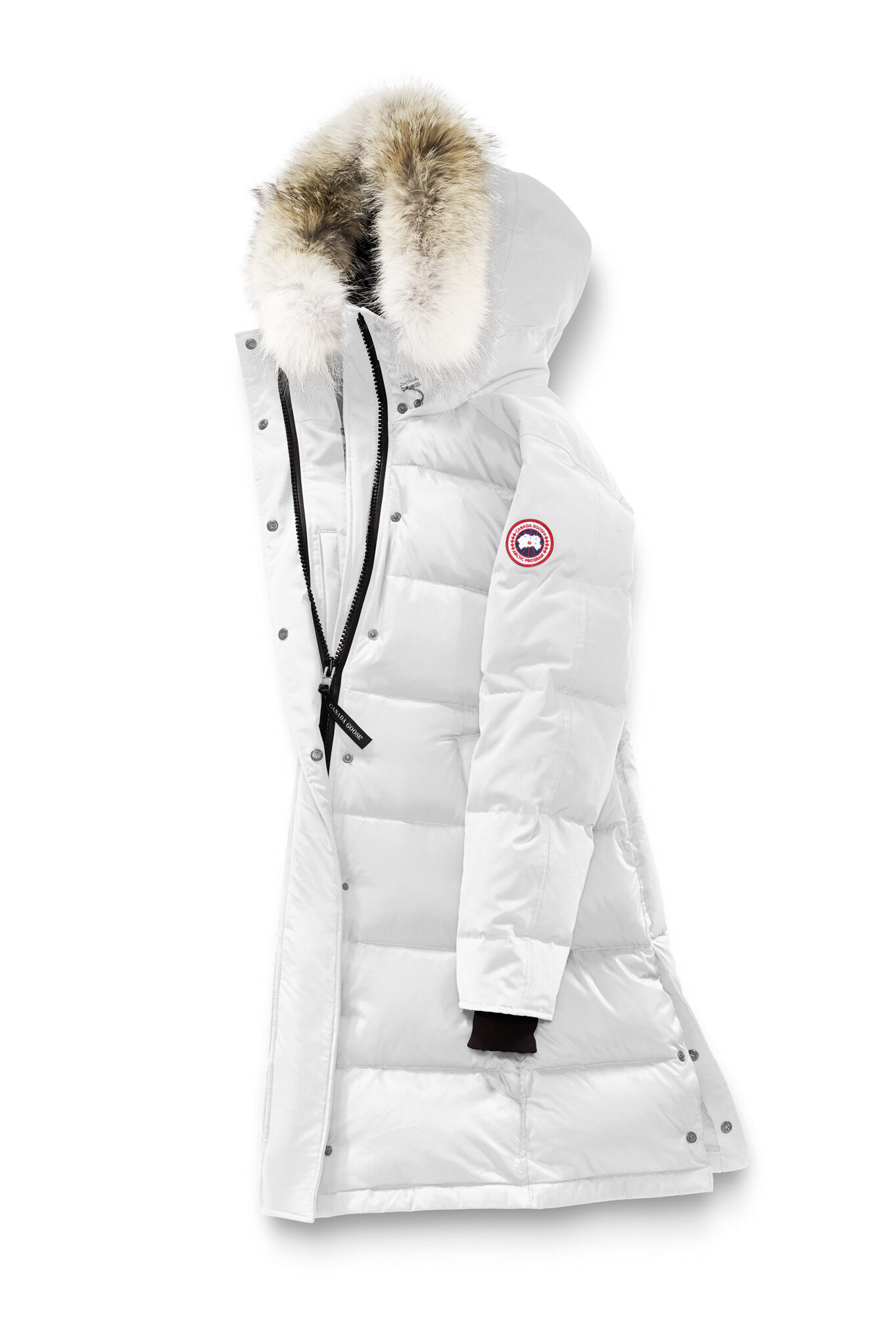 White parka with fur hood