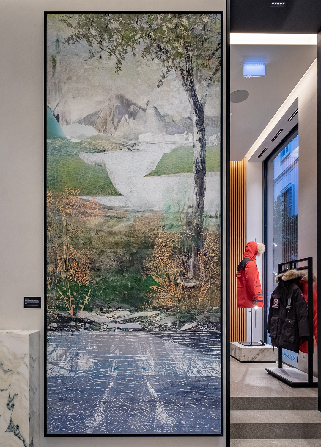 artwork in the Canada Goose Milan store