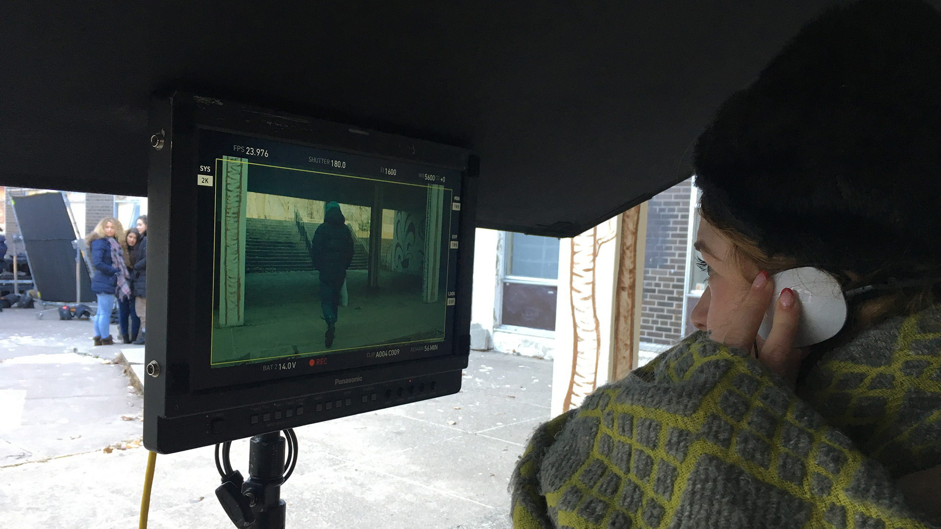 Filmmaker Sofia Banzhaf on set of I Am in the World As Free and Slender as a Deer on a Plain