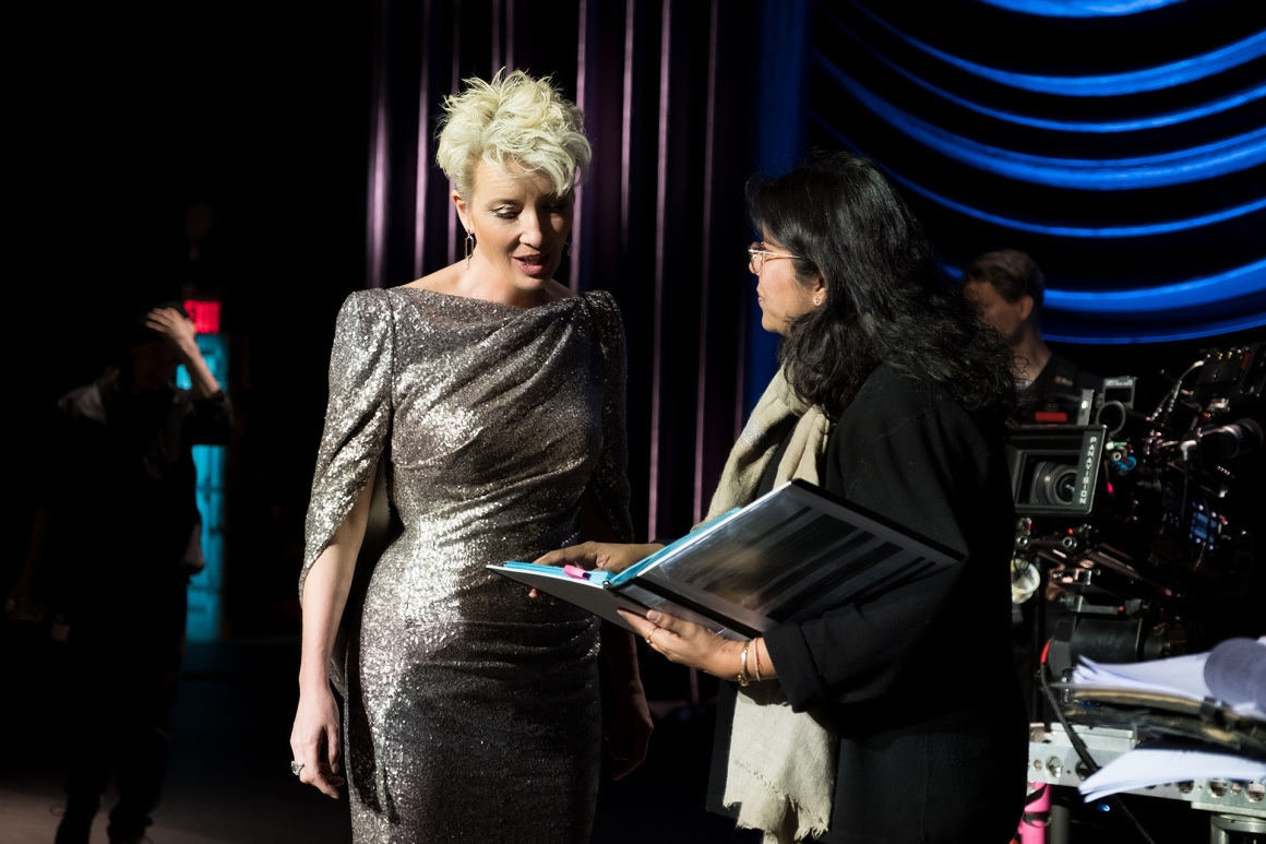 Director Nisha Ganatra with actor Emma Thompson on the set of Late Night