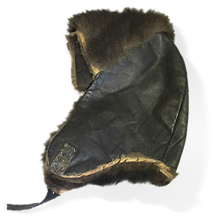 Fur and leather pilot hat